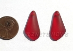 Cultured Sea Glass fancy drop Earring Set - puffed front with flat back  <b>24x12mm</b> 05-Cherry Red per <b>1-pair-bag</b>