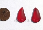 Cultured Sea Glass Teardrop Earring Set - puffed front with flat back  <b>21x13mm</b> 05-Cherry Red per <b>1-pair-bag</b>