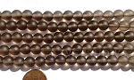 Cultured Sea Glass round Beads <b>8mm</b> 15-Smoky Quartz per  24 pcs in 8-in-str <b>5-str-hank</b>
