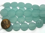 Cultured Sea Glass coin puffed Beads(6-pc-str)(4-in-str) <b>15mm</b> 882-Opaque Seafoam per <b>5-str-hank</b>