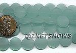 Cultured Sea Glass coin puffed Beads(8-pc-str)(4-in-str) <b>12mm</b> 882-Opaque Seafoam per <b>5-str-hank</b>