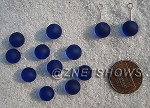 Cultured Sea Glass half-drilled round  Beads <b>8mm </b> 33-Royal Blue per <b>12-pc-bag</b>