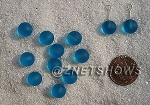 Cultured Sea Glass half-drilled round  Beads <b>8mm </b> 30-Pacific Blue per <b>12-pc-bag</b>