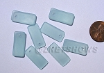 Cultured Sea Glass bottle-curved earring rectangle Pendants <b>22x11mm</b> 881-Opaque Seafoam per <b>8-pc-bag</b>