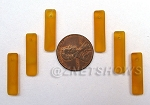 Cultured Sea Glass baby-size elongated puffed rectangle Pendants <b>6x22mm</b> 57-Saffron Yellow per <b>6-pc-bag</b>