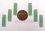 Cultured Sea Glass baby-size elongated puffed rectangle Pendants <b>6x22mm</b> 892-Opaque Seafoam Green per <b>6-pc-bag</b>