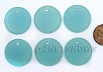 Cultured Sea Glass Flat Coin Pendants <b>25mm</b> 881-Opaque Seafoam per <b>6-pc-bag</b>