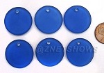 Cultured Sea Glass Flat Coin Pendants <b>25mm</b> 33-Royal Blue per <b>6-pc-bag</b>