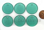 Cultured Sea Glass Flat Coin Pendants <b>25mm</b> 89-Autumn Green per <b>6-pc-bag</b>