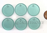 Cultured Sea Glass Flat Coin Pendants <b>25mm</b> 88-Light Aqua `Coke` bottle Seafoam per <b>6-pc-bag</b>