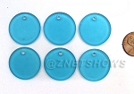 Cultured Sea Glass Flat Coin Pendants <b>25mm</b> 30-Pacific Blue per <b>6-pc-bag</b>