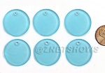 Cultured Sea Glass Flat Coin Pendants <b>25mm</b> 28-Turquoise Bay per <b>6-pc-bag</b>
