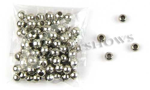 Base Metal Beads <b>6mm</b> Antique Silver Tone Silver Color Alloy Round Spacers Large Hole for Winestopper per   <b>100-pc-bag</b>