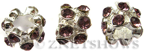 BM Large Hole Beads <b>10x8mm</b> Other Colors flower with purple quartz beads - Silver Plated per   <b>5-pc-bag</b>