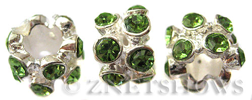 BM Large Hole Beads <b>10x8mm</b> Other Colors flower with green quartz beads - Silver Plated per   <b>5-pc-bag</b>