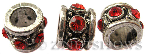 BM Large Hole Beads <b>11x8mm</b> Other Colors red quartz beads - Silver Plated per   <b>5-pc-bag</b>