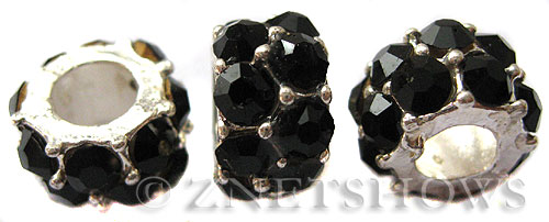 BM Large Hole Beads <b>12x7mm</b> Other Colors black quartz beads - Silver Plated per   <b>5-pc-bag</b>