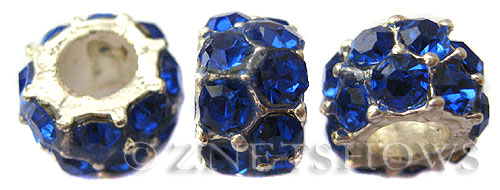 BM Large Hole Beads <b>12x7mm</b> Other Colors blue quartz beads - Silver Plated per   <b>5-pc-bag</b>
