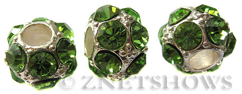 BM Large Hole Beads <b>12mm</b> Other Colors green quartz beads - Silver Plated per   <b>5-pc-bag</b>
