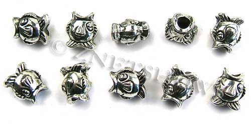 BM Large Hole Beads <b>14x12mm</b> Other Colors fish beads - Silver Plated per   <b>10-pc-bag</b>