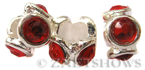 BM Large Hole Beads <b>10x6mm</b> Other Colors rondelle beads with red crystals - Silver Plated per   <b>5-pc-bag</b>