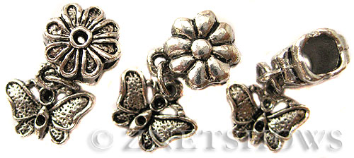 BM Large Hole Beads <b>10mm</b> Other Colors dangle butterfly beads - Silver Plated per   <b>10-pc-bag</b>
