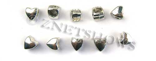 BM Large Hole Beads <b>8mm</b> Other Colors silver color heart beads per   <b>10-pc-bag</b>