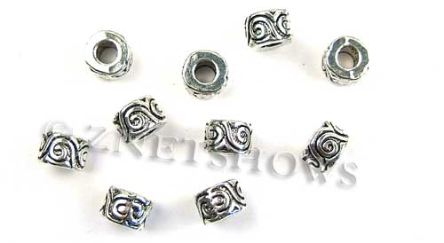 BM Large Hole Beads <b>10x7mm</b> Other Colors silver color rondelle beads per   <b>10-pc-bag</b>