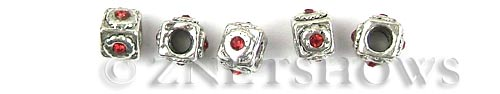 BM Rifled Screw Stoppers <b>10x8mm</b> Antique Silver Tone 4mm large screw hole with red crystals per   <b>5-pc-bag</b>