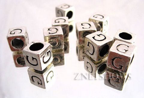 BM Large Hole Letters <b>about 10x9mm</b> Antique Silver Tone silver-plated alloy carved with G per   <b>10-pc-bag </b>