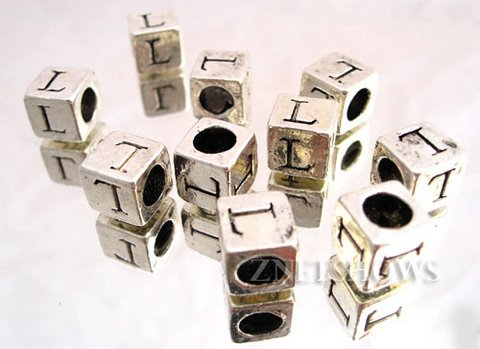 BM Large Hole Letters <b>about 10x9mm</b> Antique Silver Tone silver-plated alloy carved with L per   <b>10-pc-bag </b>