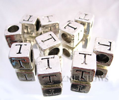 BM Large Hole Letters <b>about 10x9mm</b> Antique Silver Tone silver-plated alloy carved with T per   <b>10-pc-bag</b>