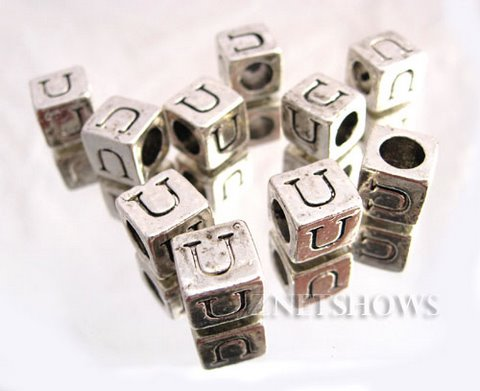BM Large Hole Letters <b>about 10x9mm</b> Antique Silver Tone silver-plated alloy carved with U per   <b>10-pc-bag</b>
