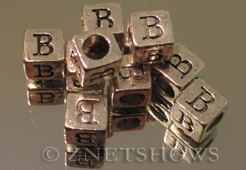 BM Large Hole Letters <b>about 10x9mm</b> Antique Silver Tone large hole silver-plated alloy carved with B per   <b>10-pc-bag</b>