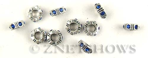 BM Rifled Screw Stoppers <b>10mm</b> Antique Silver Tone Silver-plated alloy 3.5mm large screw hole with blue crystals(not suitable for pandora)40% off per   <b>5-pc-bag</b>