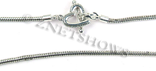 BM Bracelets <b>about 8.5 inches</b> Antique Silver Tone silver plated alloy rope chain with heart toggle clasp per   <b>1-str-bag</b>