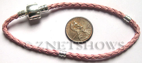 BM Bracelets <b>about 8 inches</b> Antique Silver Tone pink leatheroid braid cord with silver-plated magnetic copper clasp  per   <b>1-str-bag</b>