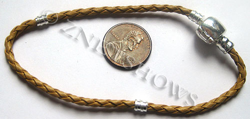 BM Bracelets <b>about 8 inches</b> Antique Silver Tone tan leatheroid braid cord with silver-plated magnetic copper clasp  per   <b>1-str-bag</b>