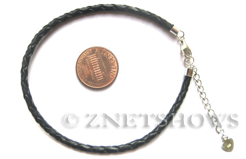 BM Bracelets <b>about 7.5 inches</b> Antique Silver Tone black  leatheroidwith sterling silver clasp and 2in extension chain per   <b>1-str-bag</b>
