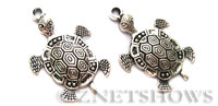 BM Sea Life - Fancy Sea Turtle Charms <b>45x28mm</b> Antique Silver Tone turtle per   <b>2-pc-bag</b>