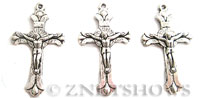 Base Metal Charms <b>39x23mm</b> Antique Silver Tone Jesus Crucifix Cross per   <b>5-pc-bag</b>
