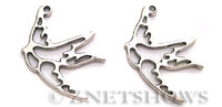 BM Animal Beads <b>34x27mm</b> Antique Silver Tone swallow per   <b>5-pc-bag</b>