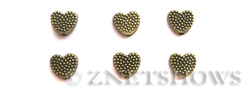 Base Metal Beads <b>7mm</b> Antique Brass Tone dotted (17-pc-bag) per   <b>5 Bags</b>