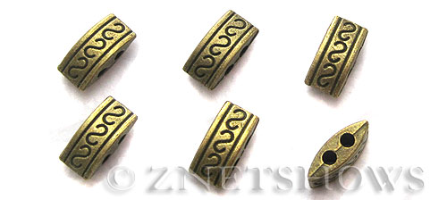 Base Metal Beads <b>10x5mm</b> Antique Brass Tone S pattern rectangle double hole (17-pc-bag) per   <b>5 Bags</b>
