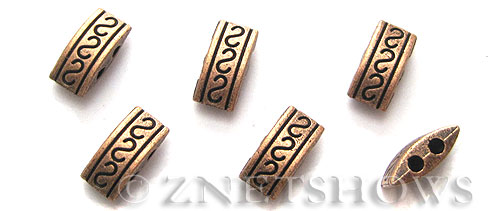 Base Metal Beads <b>10x5mm</b> Antique Copper Tone S pattern rectangle double hole (17-pc-bag) per   <b>5 Bags</b>