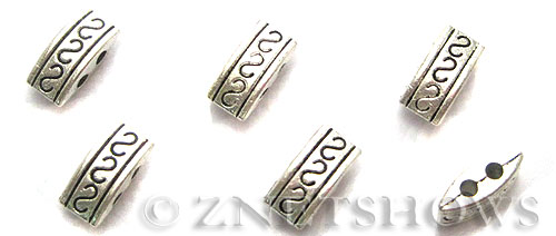 Base Metal Beads <b>10x5mm</b> Antique Silver Tone S pattern rectangle double hole (17-pc-bag) per   <b>5 Bags</b>