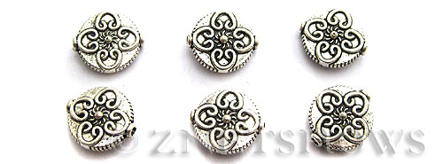 Base Metal Beads <b>13mm</b> Antique Silver Tone flower pattern (5-pc-bag) per   <b>5 Bags</b>