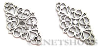 Base Metal Charms <b>42x25mm</b> Antique Silver Tone  per   <b>5-pc-bag</b>
