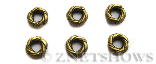 Base Metal Beads <b>12mm</b> Antique Brass Tone twisted banding ring (7-pc-bag) per   <b>5 Bags</b>