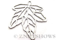 Base Metal Charms <b> 67x64mm</b> Antique Silver Tone maple (same piece qty as the 5-bag-hank) per   <b>5-pc-bag</b>